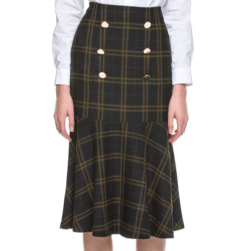 PLAID TRUMPET SKIRT W/ BUTTON DETAIL