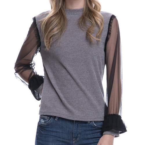 KNIT TOP W/ SEE THROUGH SLEEVE