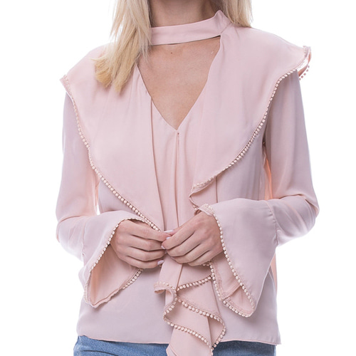 LONG SLEEVE BLOUSE WITH CASACADING RUFFLES